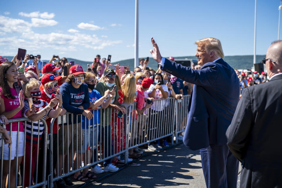President Donald Trump greets supporters on Thursday at Wilkes-Barre Scranton International Airport in Avoca, Pa. (Doug Mills/The New York Times)