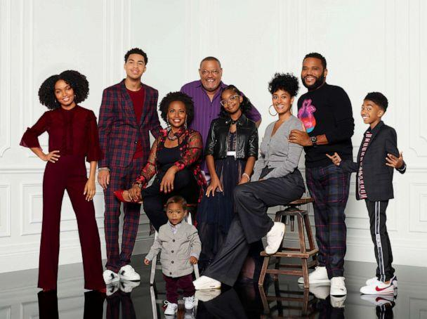 PHOTO: ABC's 'black-ish' stars Yara Shahidi, Marcus Scribner, Jr., Jenifer Lewis, Austin and Berlin Gross, Laurence Fishburne, Marsai Martin, Tracee Ellis Ross, Anthony Anderson, and Miles Brown. (Craig Sjodin/ABC)