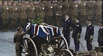 <p>King George V places a wreath on the coffin of the Unknown Warrior on Armistice Day in November, 1920<br> (Royston Leonard / Media Drum World / Caters News) </p>