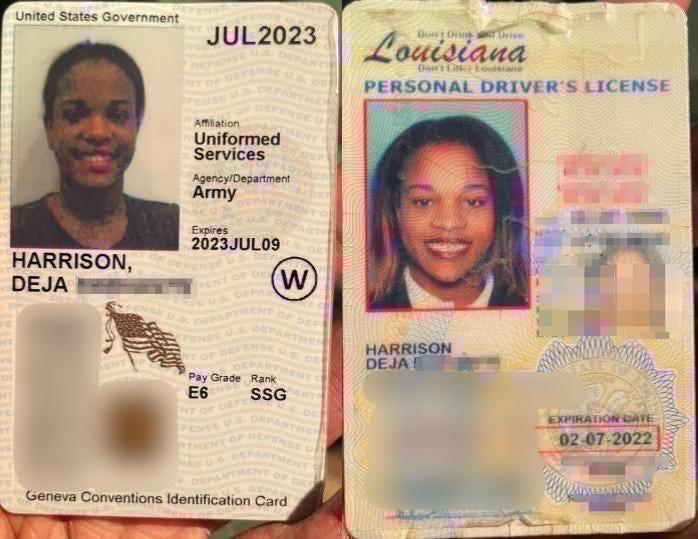Deja Harrison's driver's license and military ID obtained by Insider.