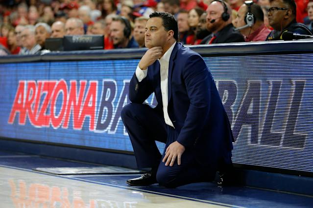"<a class=""link rapid-noclick-resp"" href=""/ncaaw/teams/arizona/"" data-ylk=""slk:Arizona Wildcats"">Arizona Wildcats</a> head coach Sean Miller looks on during a college basketball game on March 9, 2019. (AP)"