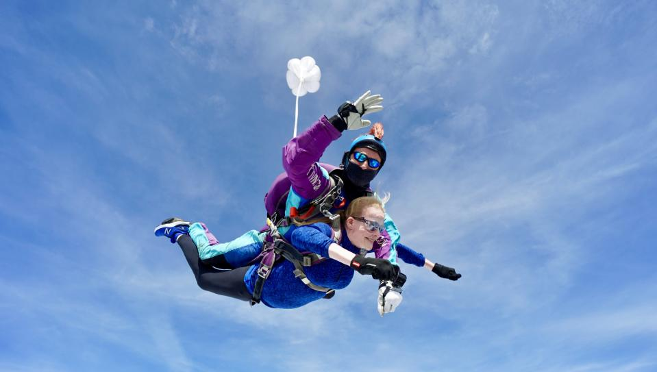 Headteacher Bridget Harrison resorted to a 15,000ft skydive to raise funds for school improvements, as there was was not enough cash in the school budget. (North London Skydiving Centre/ PA)