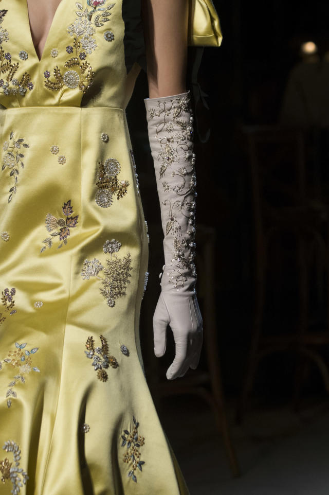 <p><i>Embellished leather opera glove from the SS18 Erdem collection. (Photo: ImaxTree) </i></p>