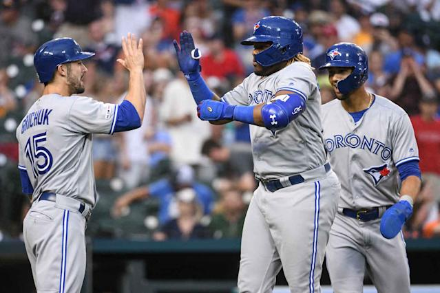 Toronto Blue Jays rookie Vladimir Guerrero Jr. celebrated his first career grand slam against the Detroit Tigers. (Tim Fuller-USA TODAY Sports)