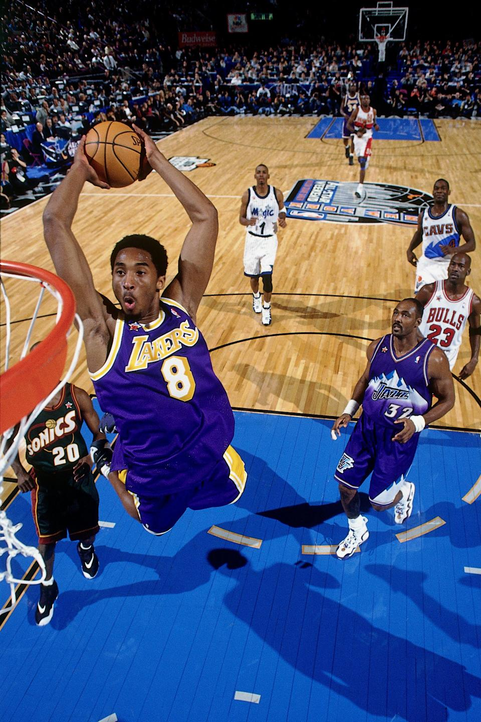 Kobe Bryant became the youngest All-Star in NBA history in 1998. Needless to say, the rest of the league was taking notice of the mercurial rise of the teenaged progidy. (Andrew D. Bernstein/NBAE via Getty Images)