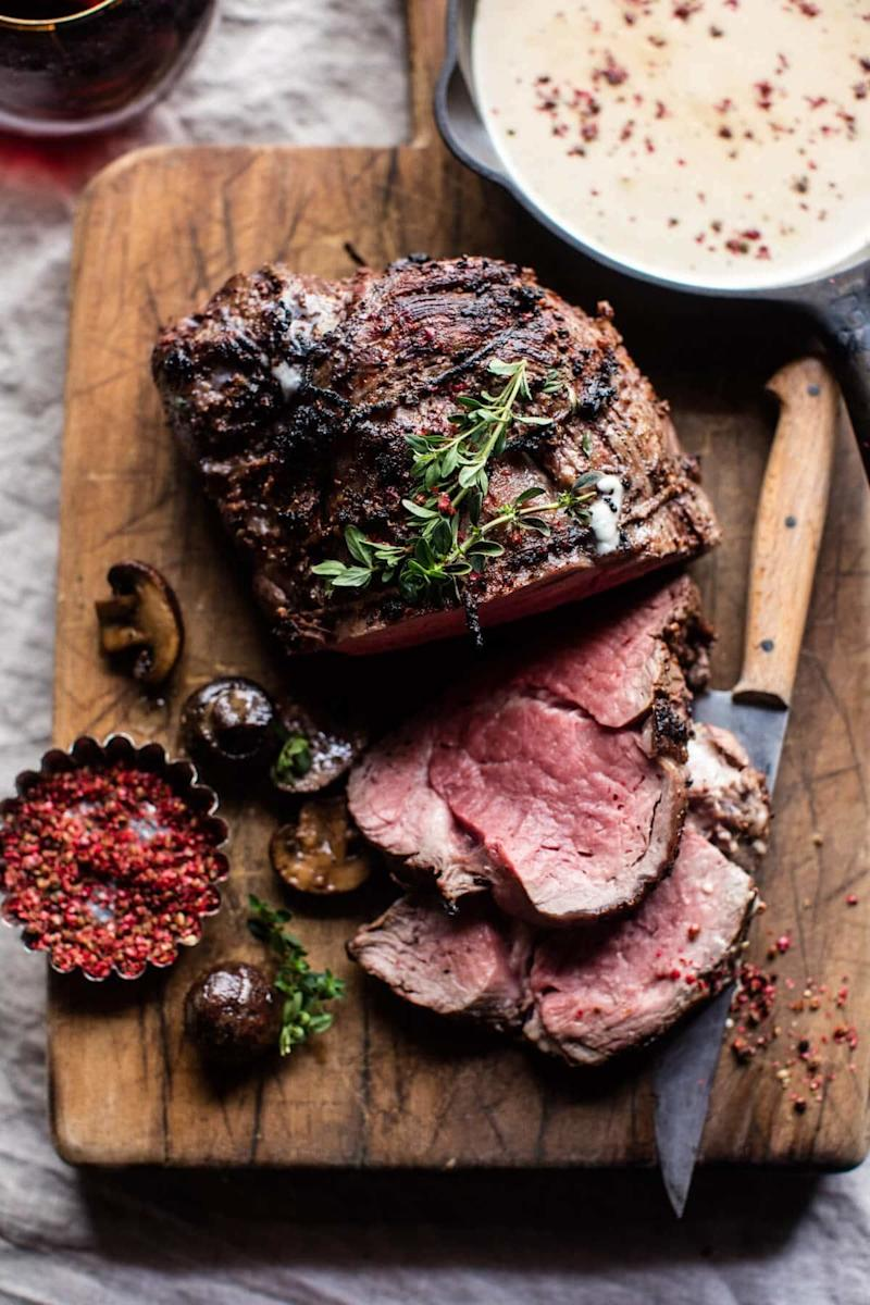 "<strong>Get the <a href=""https://www.halfbakedharvest.com/roasted-beef-tenderloin-with-mushrooms-and-white-wine-cream-sauce/"" target=""_blank"">Roasted Beef Tenderloin with Mushrooms and White Wine Cream Sauce recipe</a> from Half Baked Harvest</strong>"