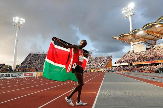 Kenya's Edward Zakayo after winning the 5000m bronze Commonwealth Games medal (AFP Photo/Adrian DENNIS)