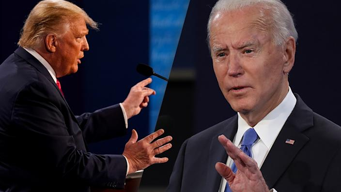 President Trump and Joe Biden participate in the final presidential debate on October 22, 2020 in Nashville, Tennessee. ( Photo illustration: Yahoo News; photos: Morry Gash/Pool via Reuters, Chip Somodevilla/Getty Images)