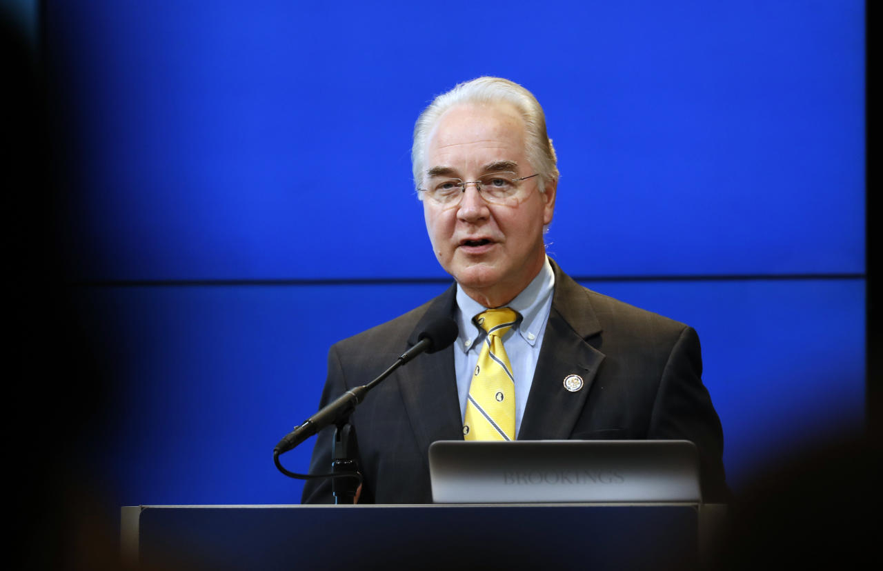 <p> FILE - In this Nov. 30, 2016, file photo, Rep. Tom Price, R-Ga., President-elect Donald Trump's choice for Health and Human Services Secretary speaks in Washington. With coverage for millions of people at stake, Price is facing pointed questions about President-elect Donald Trump's health policies, and his own investments in health care companies, from senators considering his selection as health secretary. (AP Photo/Alex Brandon, file) </p>