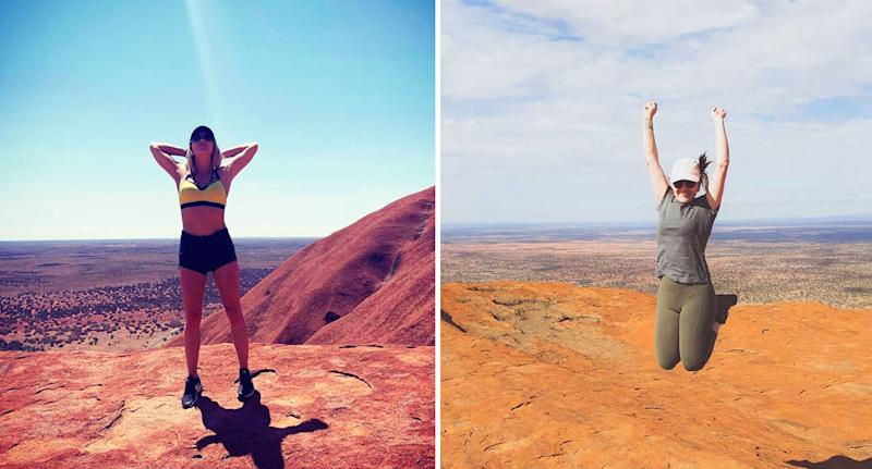 Two women pose at the top of Uluru. Source: Instagram
