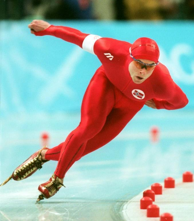 Aadne Sondral of Norway speeds to a new world record in the men's 1500m speed skating in Gangano in 1998. A flu outbreak prevented Soendral from going for a double in the 1,000 metres