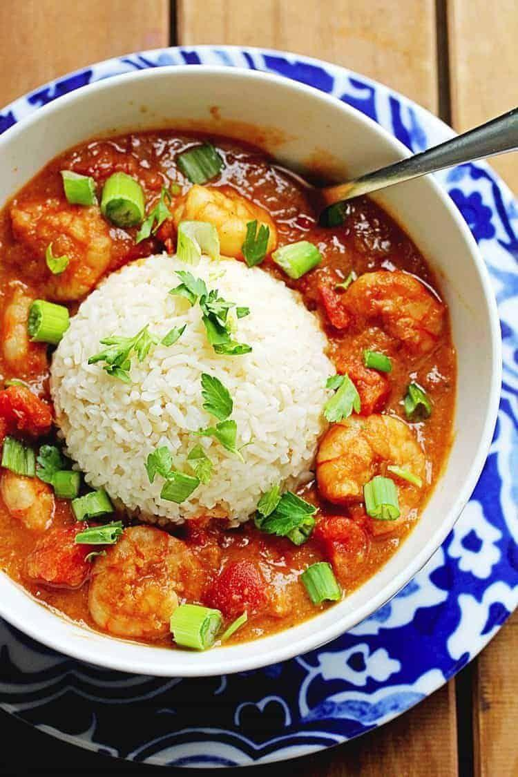 """<p>A spicy, tomato-based stew made with vegetables and seafood (or meat, in some cases), Étouffée should be served with rice to soak up all the flavor.</p><p><em><a href=""""https://grandbaby-cakes.com/shrimp-etouffee/"""" rel=""""nofollow noopener"""" target=""""_blank"""" data-ylk=""""slk:Get the recipe from Grandbaby Cakes »"""" class=""""link rapid-noclick-resp"""">Get the recipe from Grandbaby Cakes »</a></em> </p>"""