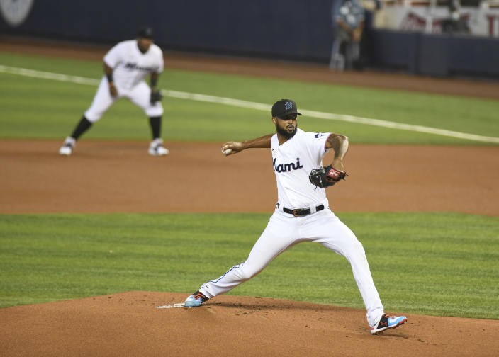 Miami Marlins starting pitcher Sandy Alcantara throws in the first inning during a baseball game against the Tampa Bay Rays, Thursday, April 1, 2021, in Miami. (AP Photo/Gaston De Cardenas)