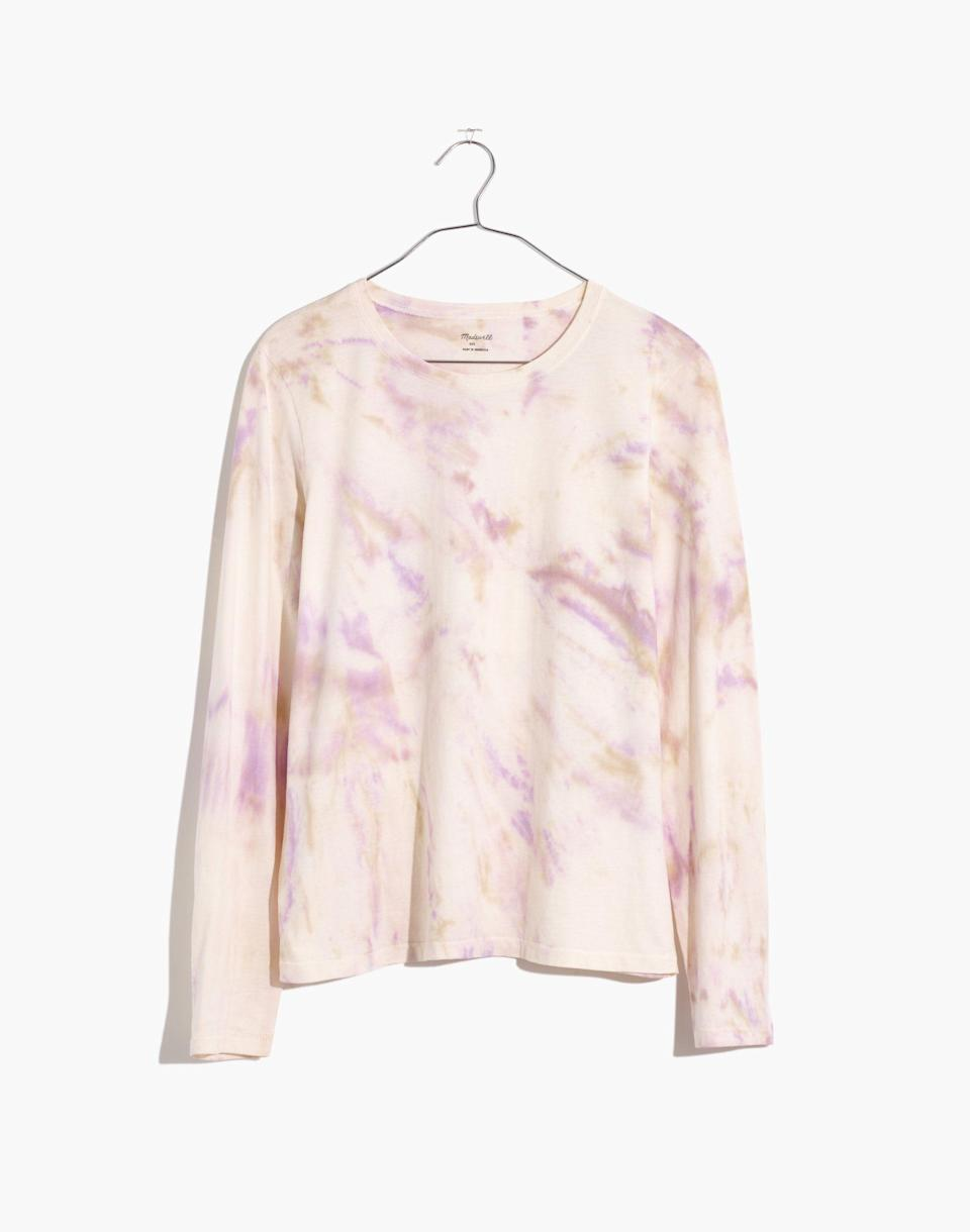 """<p><strong>Madewell</strong></p><p>madewell.com</p><p><a href=""""https://go.redirectingat.com?id=74968X1596630&url=https%3A%2F%2Fwww.madewell.com%2Fnorthside-long-sleeve-vintage-tie-dye-tee-AL400.html&sref=https%3A%2F%2Fwww.marieclaire.com%2Ffashion%2Fg36053744%2Fmadewell-spring-sale-2021%2F"""" rel=""""nofollow noopener"""" target=""""_blank"""" data-ylk=""""slk:SHOP IT"""" class=""""link rapid-noclick-resp"""">SHOP IT</a></p><p><strong><del>$45</del> $17 (62% off)</strong></p><p>The relaxed pastels going on in this T-shirt are *chef's kiss.* For a boxier fit, size up. </p>"""