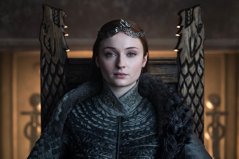 Sansa Stark (Sophie Turner) takes her rightful place as Queen in the North in the 'Game of Thrones' series finale. (Photo: Helen Sloan/HBO)