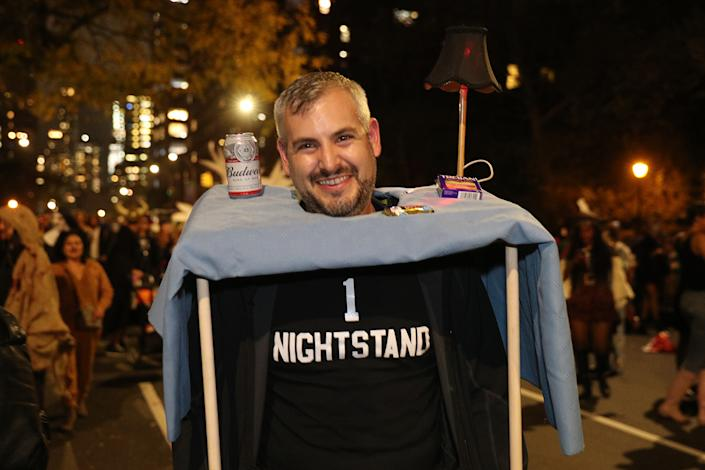 A man dressed as a nightstand marches in the Village Halloween Parade in New York City. (Photo: Gordon Donovan/Yahoo News)