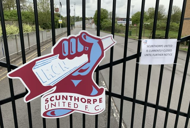 The gates at Scunthorpe's ground will be locked for the foreseeable future (Simon Peach/PA)