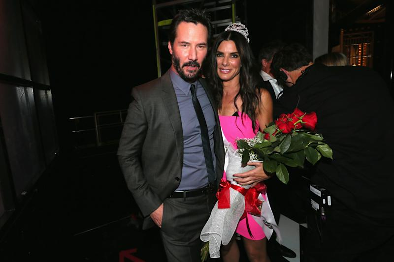 "CULVER CITY, CA - JUNE 07: Actors Keanu Reeves (L) and Sandra Bullock attend Spike TV's ""Guys Choice 2014"" at Sony Pictures Studios on June 7, 2014 in Culver City, California. (Photo by Mark Davis/WireImage for Spike TV)"