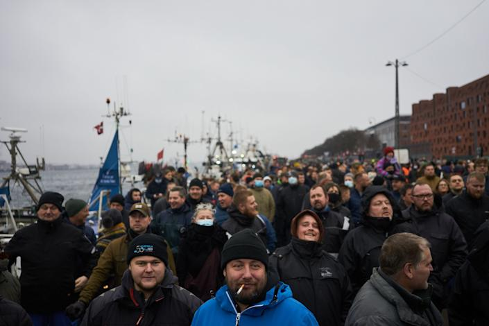 Hundreds of Danish farmers and fishermen demonstrate with tractors against a government decision to cull their minks to halt the spread of a coronavirus variant on November 21, 2020. - More than 500 tractors, many decked out with the Danish flag, drove past the government's offices and parliament in Copenhagen to the port. (Photo by Thibault Savary / AFP) (Photo by THIBAULT SAVARY/AFP via Getty Images)