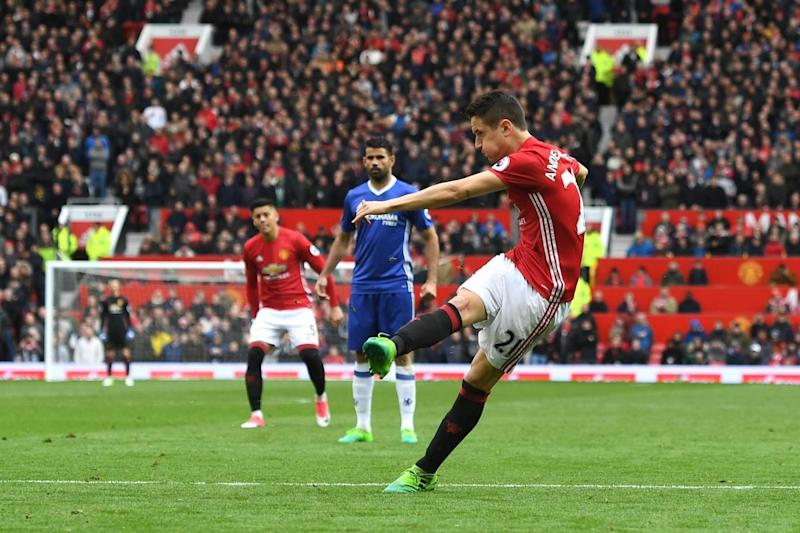 Strike: Ander Herrera doubles Manchester United's advantage at Old Trafford (Getty Images)