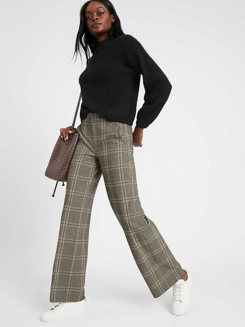 <p>Or try a leggier look with this <span>Banana Republic High-Rise Slim Wide-Leg Pant</span> ($67, originally $110)!</p>