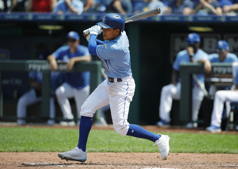 Kansas City Royals' Nicky Lopez hits a single to score two runs in the fifth inning of a baseball game against the Cleveland Indians at Kauffman Stadium in Kansas City, Mo., Sunday, July 28, 2019. (AP Photo/Colin E. Braley)