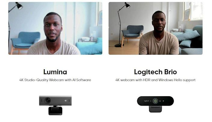 Side-by-side comparison between Lumina's picture quality and that of a competitive Logitech webcam.
