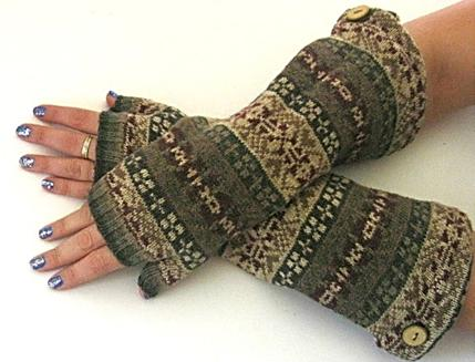 Fair Isle Fingerless Gloves, $15