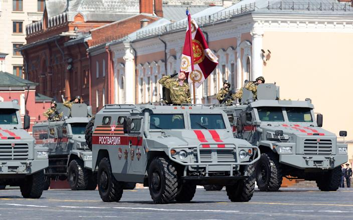 Tigr [Tiger] armoured vehicles of the Russian National Guard, similar to those thought to have been given to the Wagner Group, in Moscow's Red Square. May 7, 2019. - Alexei Yereshko/TASS