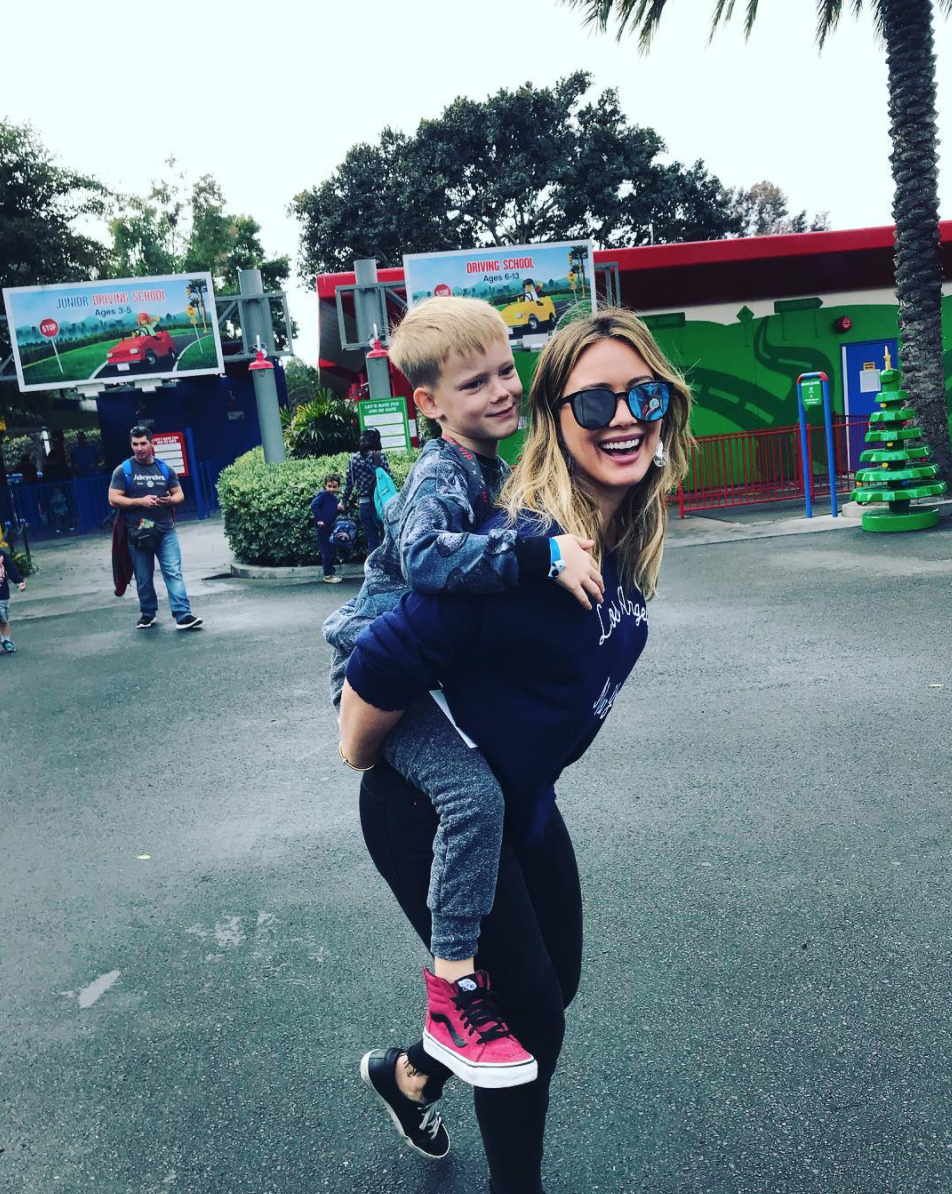 "<p>Who says the end of the holiday break means going back to work? Duff took her main man — 5-year-old son Luca — for a day at Legoland California. (Photo: <a rel=""nofollow noopener"" href=""https://www.instagram.com/p/BcA2WEOHIxh/?hl=en&taken-by=hilaryduff"" target=""_blank"" data-ylk=""slk:Hilary Duff via Instagram"" class=""link rapid-noclick-resp"">Hilary Duff via Instagram</a>) </p>"