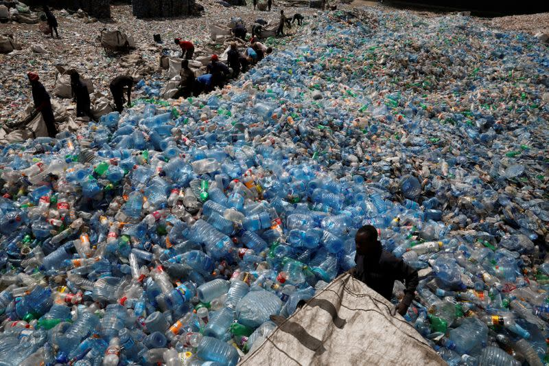 FILE PHOTO: Employees sort plastic bottles at the Weeco plastic recycling factory at the Athi River industrial zone near Nairobi