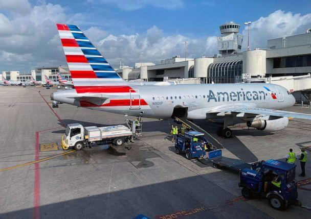 PHOTO: In this file photo taken on March 3, 2020, American Airlines planes are seen at Miami International Airport (MIA) in Miami, Florida, on March 3, 2020. (Daniel Slim/AFP via Getty Images)