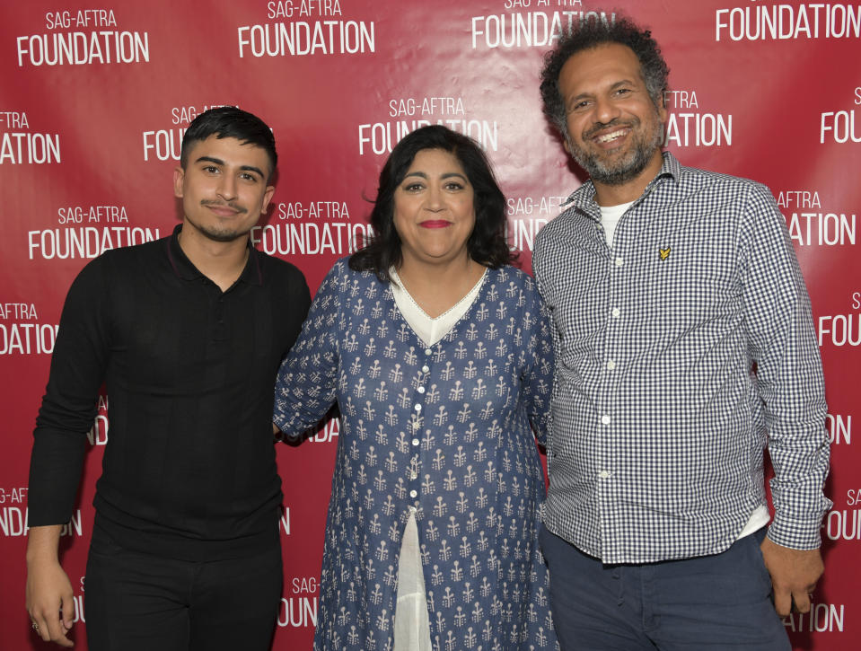 """LOS ANGELES, CALIFORNIA - JULY 23: (L-R) Aaron Phagura, Gurinder Chadha, and Sarfraz Manzoor pose for portrait at SAG-AFTRA Foundation Conversations with """"Blinded by the Light"""" at SAG-AFTRA Foundation Screening Room on July 23, 2019 in Los Angeles, California. (Photo by Rodin Eckenroth/Getty Images)"""