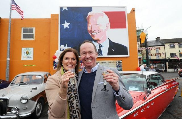 Joe Blewitt, a cousin of Joe Biden, and his wife Deirdre celebrating the US president-elect's success in the race for the White House. (Brian Lawless/PA)