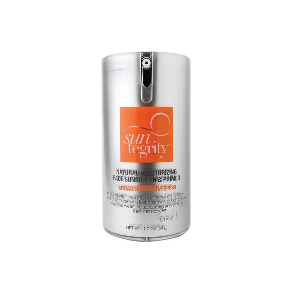 """There's a reason we've given Suntegrity's Natural Moisturizing Face Sunscreen & Primer Broad Spectrum SPF 30 a <a href=""""https://www.allure.com/review/suntegrity-natural-face-sunscreen-primer-spf-30?mbid=synd_yahoo_rss"""" rel=""""nofollow noopener"""" target=""""_blank"""" data-ylk=""""slk:Best of Beauty Award"""" class=""""link rapid-noclick-resp"""">Best of Beauty Award</a>. Not only does it offer SPF 30 but it also allows you to skip a bunch of steps in the AM, which is due to the built-in moisturizer and primer (hyaluronic acid and dimethicone, respectively)."""