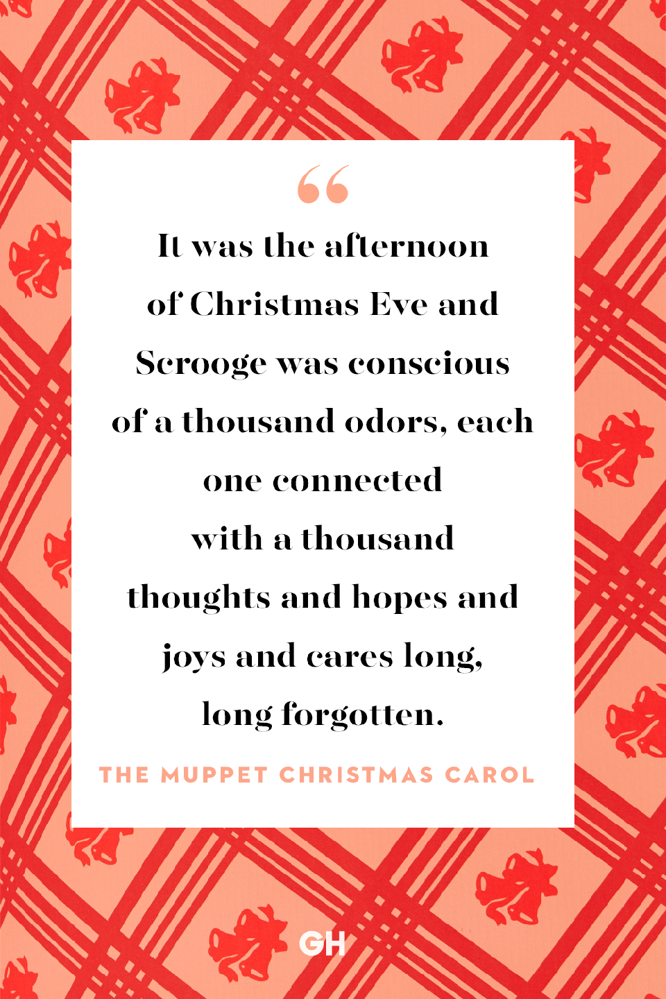 <p>It was the afternoon of Christmas Eve and Scrooge was conscious of a thousand odors, each one connected with a thousand thoughts and hopes and joys and cares long, long forgotten. </p>