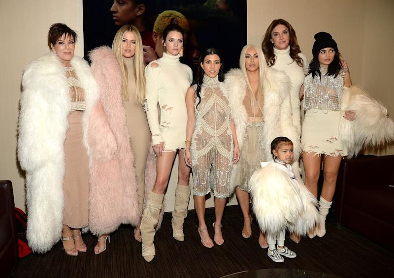 Khloé Kardashian, Kris Jenner, Kendall Jenner, Kourtney Kardashian, Kim Kardashian West, North West, Caitlyn Jenner and Kylie Jenner | Kevin Mazur/Getty Images