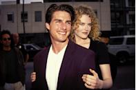 """<p>What a throwback! Nicole Kidman and Tom Cruise started dating in 1990 during their Days of Thunder years, and they married that same year. The iconic '90s couple adopted a son and daughter, but they divorced in 2001. </p><p>In a <a href=""""https://www.thecut.com/2018/10/women-and-power-nicole-kidman.html"""" rel=""""nofollow noopener"""" target=""""_blank"""" data-ylk=""""slk:2018 essay for The Cut"""" class=""""link rapid-noclick-resp"""">2018 essay for The Cut</a>, Nicole professed that her relationship protected her from industry harassment for a long time: 'I got married very young, but it definitely wasn't power for me—it was protection. I married for love, but being married to an extremely powerful man kept me from being sexually harassed. I would work, but I was still very much cocooned. So when I came out of it at 32, 33, it's almost like I had to grow up.'</p>"""