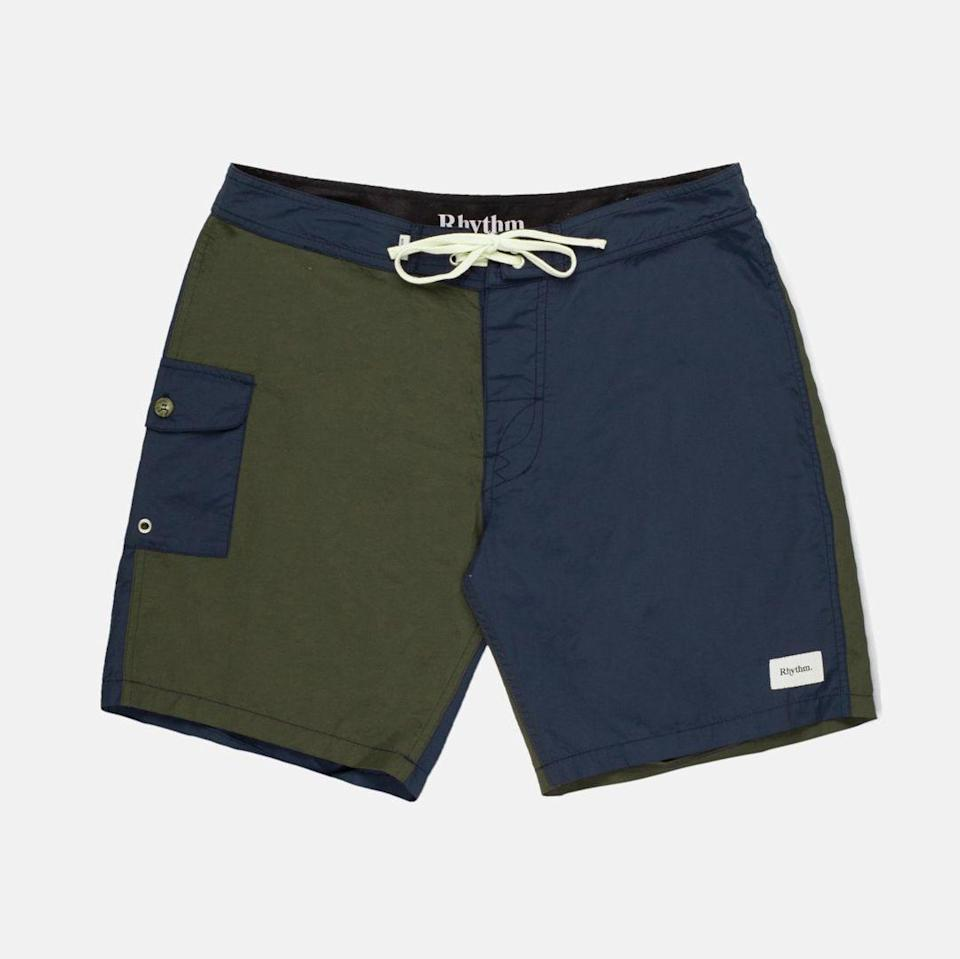 """<p>rhythmlivin.com</p><p><strong>$60.00</strong></p><p><a href=""""https://rhythmlivin.com/collections/mens-trunks/products/blocked-trunk-navy-jan21"""" rel=""""nofollow noopener"""" target=""""_blank"""" data-ylk=""""slk:BUY IT HERE"""" class=""""link rapid-noclick-resp"""">BUY IT HERE</a></p><p>A cool combination of classic navy and olive make these board shorts a standout choice for cool beach style.</p>"""
