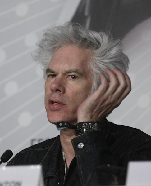 Director Jim Jarmusch speaks during a press conference for the film Only Lovers Left Alive at the 66th international film festival, in Cannes, southern France, Saturday, May 25, 2013. (AP Photo/Virginia Mayo)