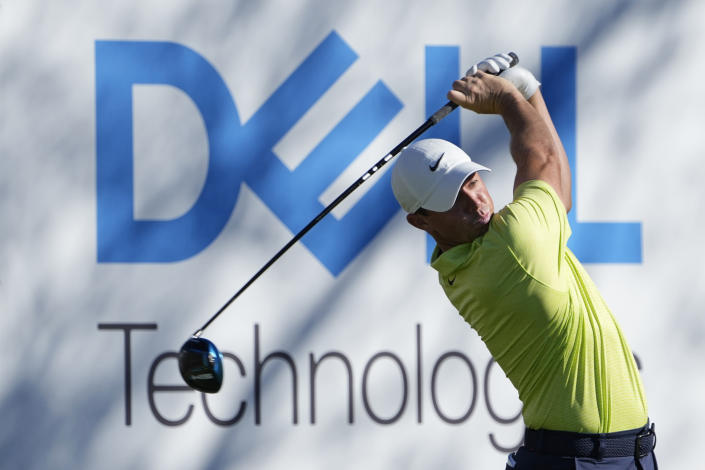 Rory McIlroy of Northern Ireland hits off the 15th tee during a second round match at the Dell Technologies Match Play Championship golf tournament Thursday, March 25, 2021, in Austin, Texas. (AP Photo/David J. Phillip)