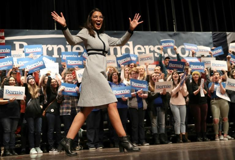 Rising political star Alexandria Ocasion-Cortez is one of Bernie Sanders' high-profile supporters (AFP Photo/WIN MCNAMEE)