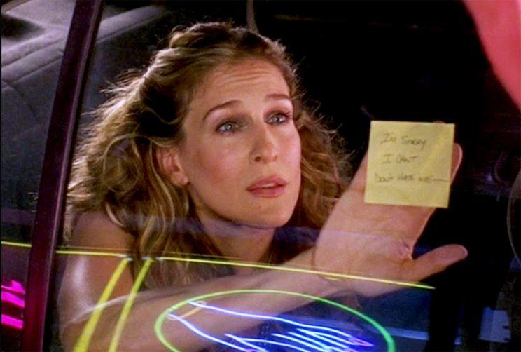 "What went wrong: Carrie's relationship with Berger turned rocky when he became insecure over the fanfare she received from her book and his own lack of success. She wanted to kick him to the curb, but he wanted to try to work things out. Then, he broke up with her via the infamous Post-It note. Breakup quote: ""I'm sorry. I can't. Don't hate me."" -- Berger's Post-It(Credit: HBO)"