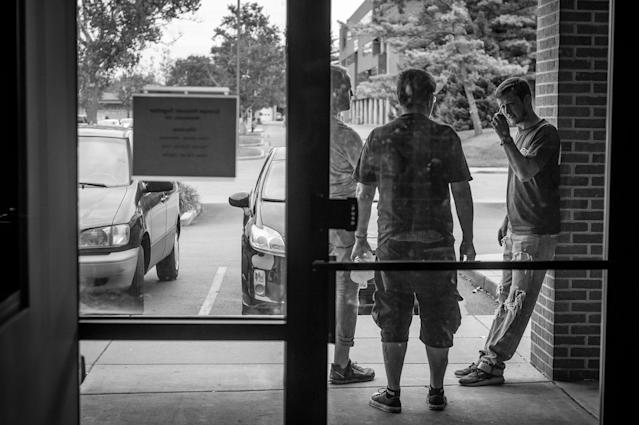 <p>Chris Carroll, a recovering heroin addict, attends group therapy at Groups in Middletown, Ohio.<br> Photo by Mary F. Calvert </p>