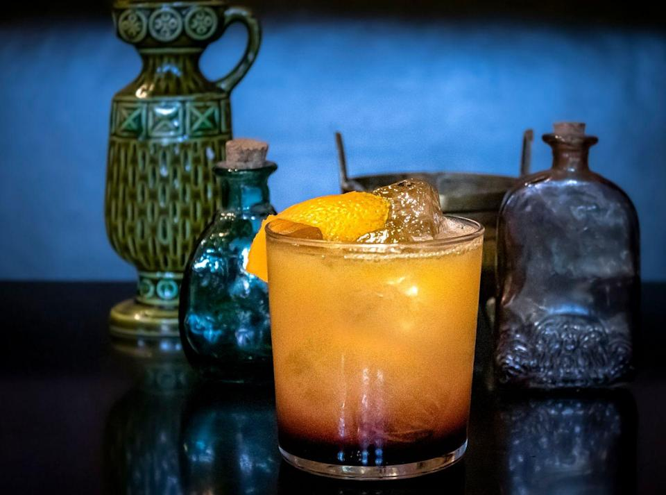 "<p><strong>Ingredients</strong></p><p>1 oz fresh lemon<br>1 oz fresh orange juice<br>2 oz Michter's Rye<br>Red wine cordial*</p><p><strong>Instructions</strong></p><p>Shake, strain into rocks glass with fresh ice, gently layer in red wine cordial, which, because it's denser, will layer on the bottom of the glass. Garnish with an orange peel.</p><p>*Red wine cordial: In a saucepan over medium heat, simmer a bottle of Shiraz or other bright, juicy red wine with 1 cup orange juice, 2 cinnamon sticks, .5 cup sweet vermouth, .5 cup pomegranate grenadine, and .25 cup smoked maple syrup. Alternatively substitute Martini & Rosso Rubino, Madeira, or a Carcavelos for cordial.</p><p><em>By Nicky Beyries from <a href=""http://foreigncinema.com/"" rel=""nofollow noopener"" target=""_blank"" data-ylk=""slk:Foreign Cinema"" class=""link rapid-noclick-resp"">Foreign Cinema</a> in San Francisco</em></p>"