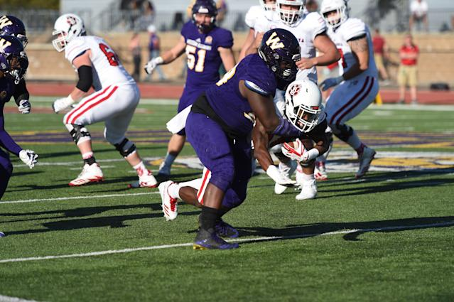 "<a class=""link rapid-noclick-resp"" href=""/ncaaf/players/241042/"" data-ylk=""slk:Khalen Saunders"">Khalen Saunders</a> is projected to be a mid-round pick in the 2019 NFL draft. (Courtesy of Western Illinois University)"