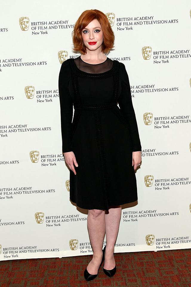 "Christina Hendricks attends BAFTA New York Celebrates ""Mad Men"" at The Harvard Club on April 22, 2013 in New York City."