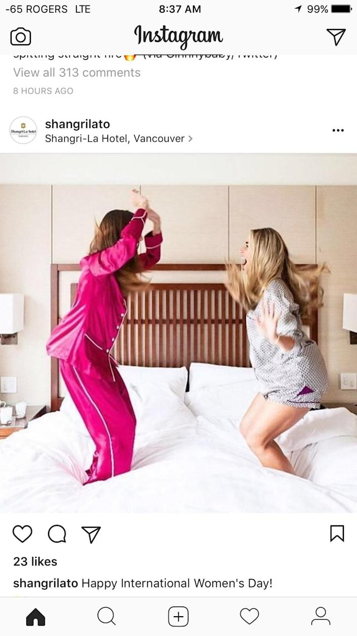 <p>The Shangri-La Hotel in Vancouver tweeted this picture in celebration of International Women's Day. It took some criticism online for insinuating that all women want to do on women's day is go to a hotel and party. Photo from Instagram. </p>