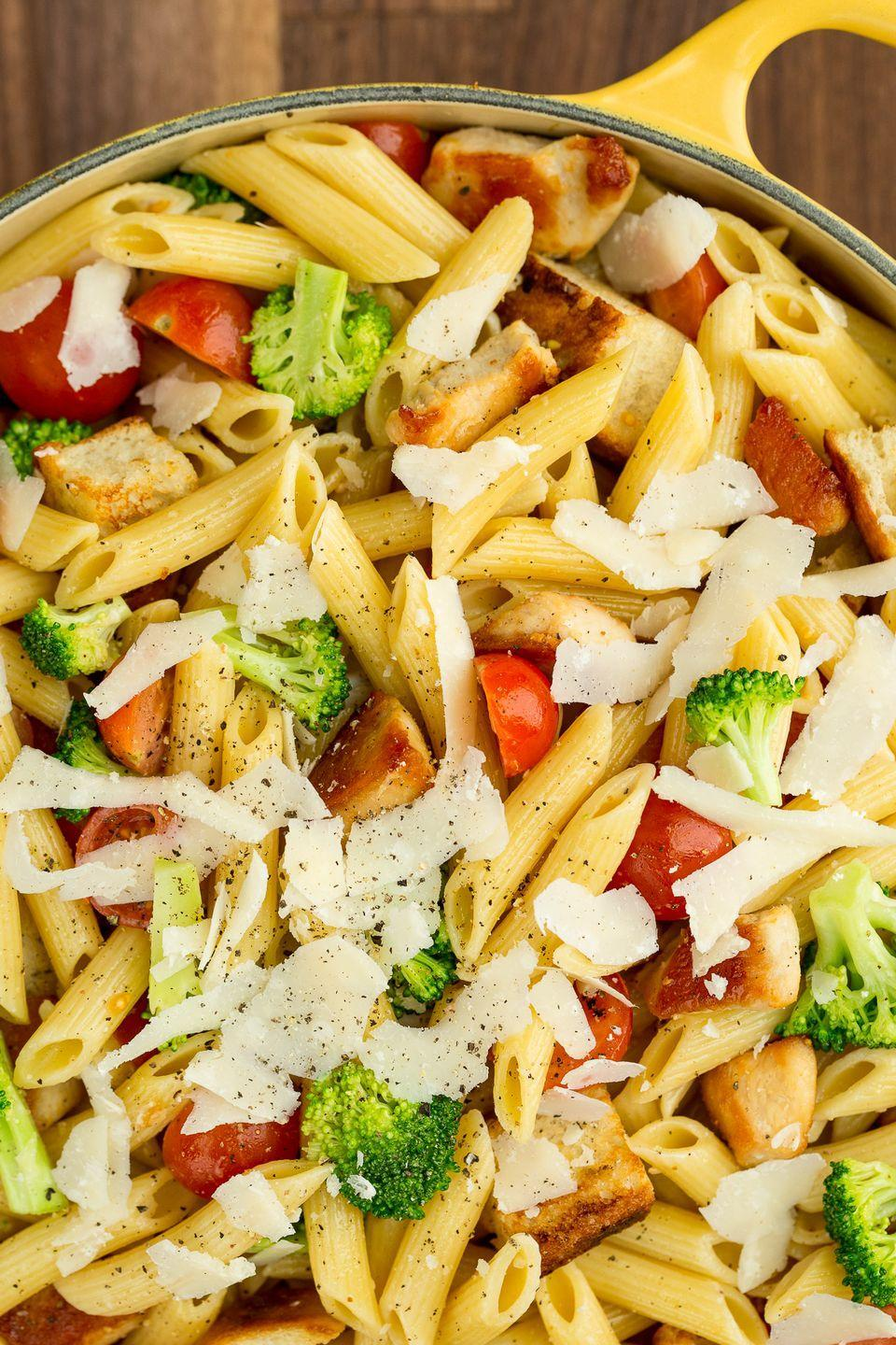 """<p>We knew penne was the only thing missing from a Caesar. </p><p>Get the recipe from <a href=""""/cooking/recipe-ideas/recipes/a43137/chicken-caesar-pasta-salad-recipe/"""" data-ylk=""""slk:Delish"""" class=""""link rapid-noclick-resp"""">Delish</a>.</p>"""