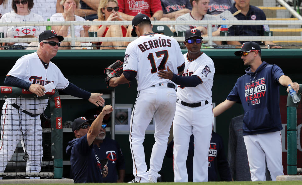 Minnesota Twins starting pitcher Jose Berrios (17) returns tho the dugout after being pulled in the third inning of their spring season baseball game against the Philadelphia Phillies in Fort Myers, Fla., Sunday, March 3, 2019. (AP Photo/Gerald Herbert)